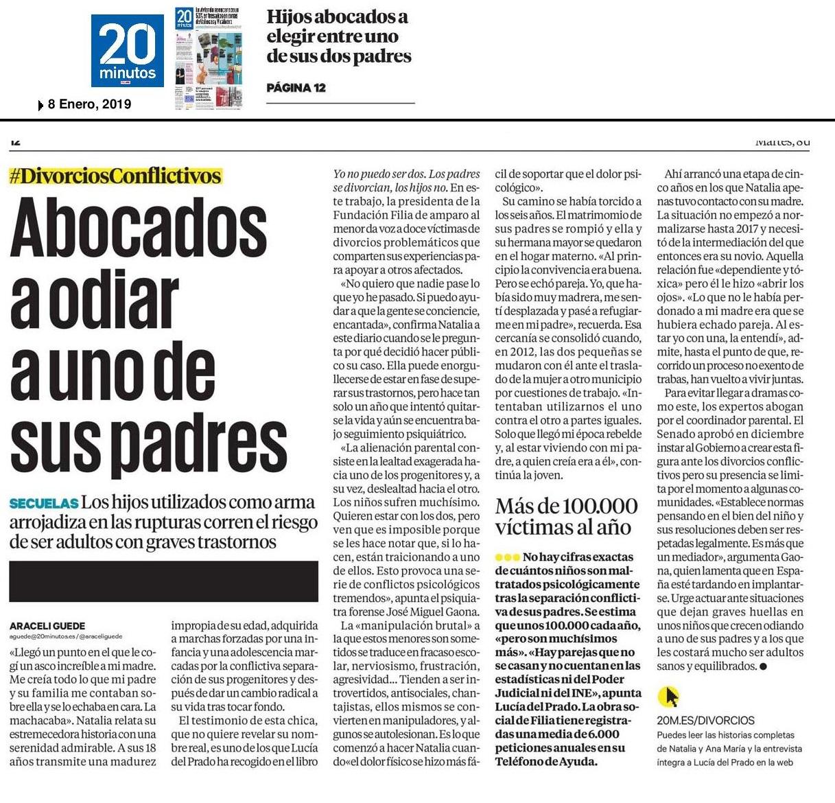 Entrevista a Lucía del Prado en 20 Minutos