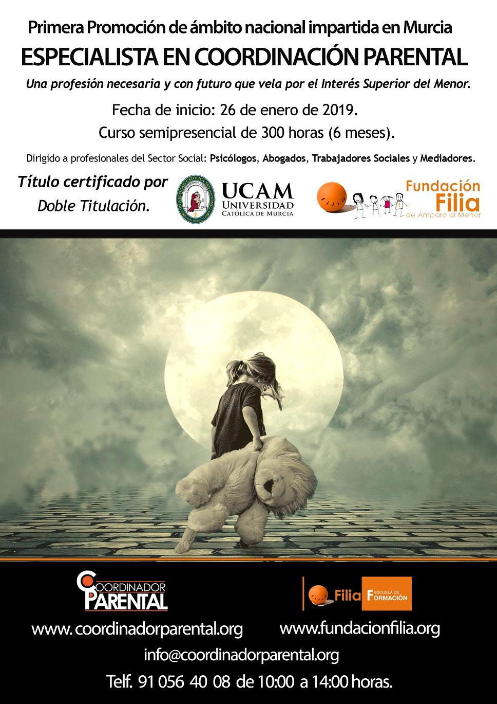 Cartel Curso Especialista en Coordinación Parental en Murcia.