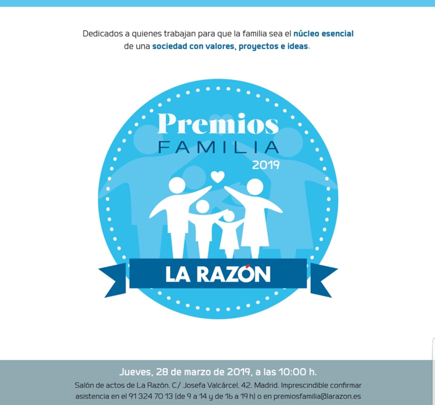 Cartel Premios Familia La Razón