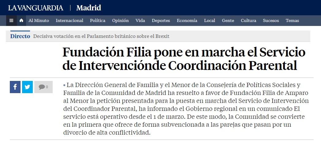 Noticia del servicio de Coordinador Parental en La Vanguardia