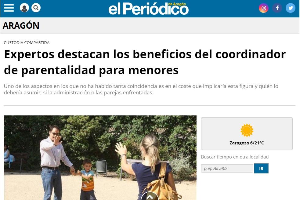Noticia del Periódico de Aragón de la sesión en las Cortes de Aragón en la que participó Lucía del Prado defendiendo la figura del Coordinador Parental