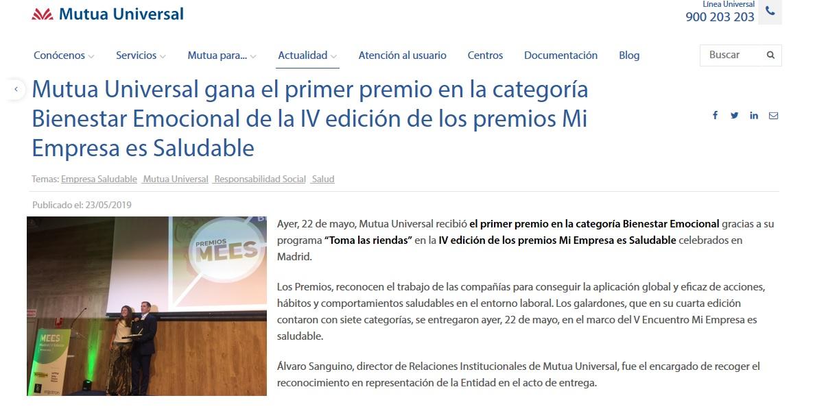 Mutua Universal gana el premio EMPRESA SALUDABLE con el apoyo de una consultora de Fundación Filia
