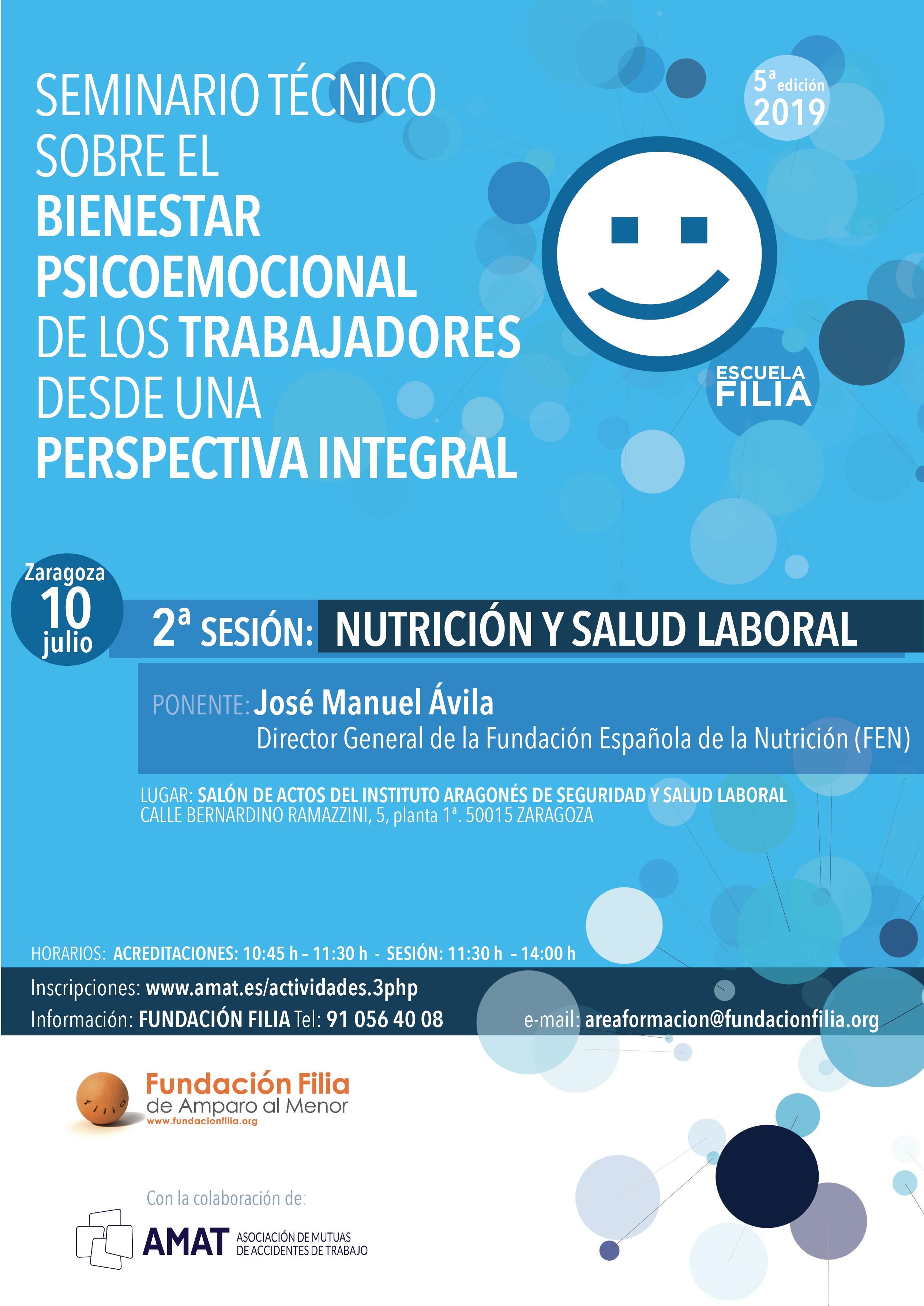 Cartel de Segunda Jornada Técnica del Ciclo formativo sobre el Bienestar Psicoemocional de los Trabajadores de Escuela Filia de Resolución de Conflictos
