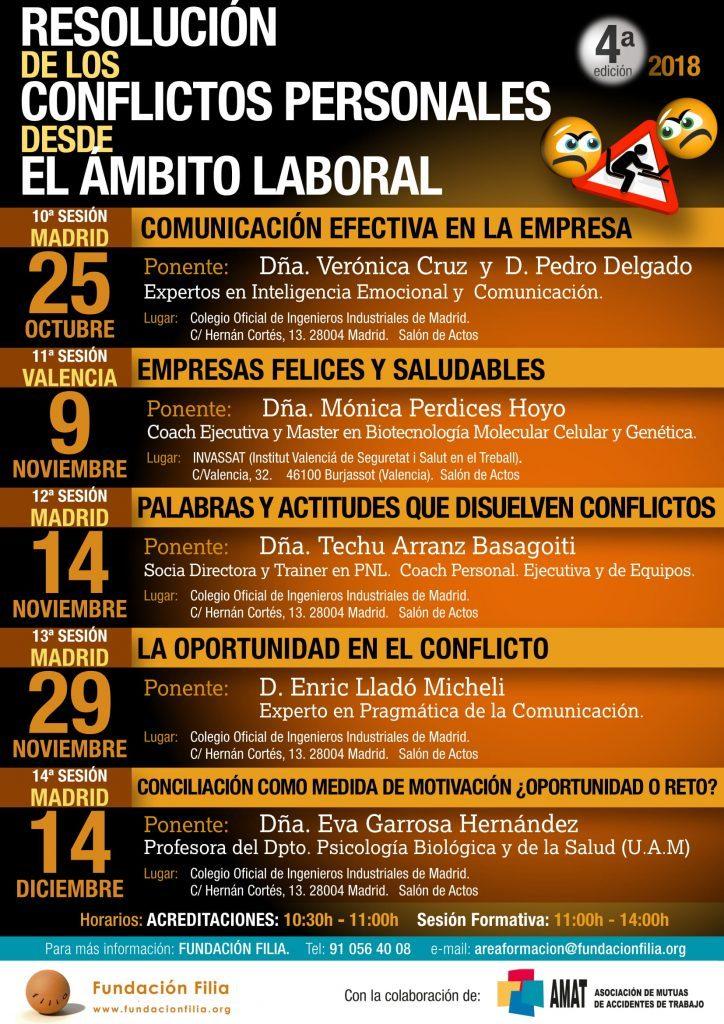 Programación de jornadas de octubre a diciembre en el Programa de Resolución de Conflictos Personales desde el ámbito laboral